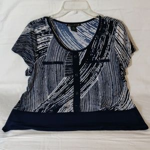 Suzie in the City False Button Front Navy Blouse